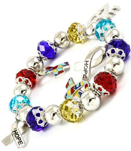 Pandora Bead Autism Awareness Charm Bracelet Hope Puzzle Piece Jewelry