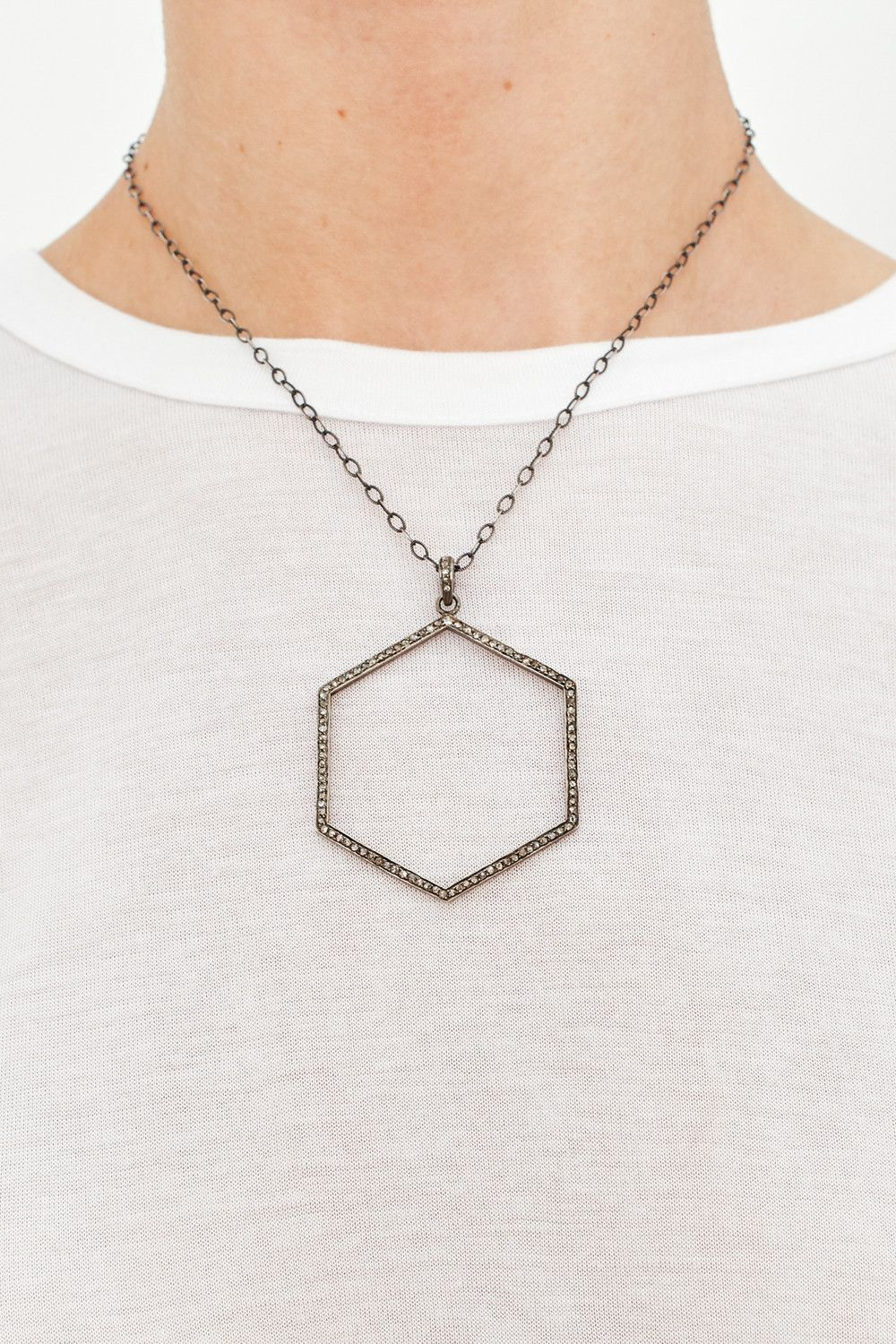 Necklace with Hexagon Pendant Products Pinterest Products