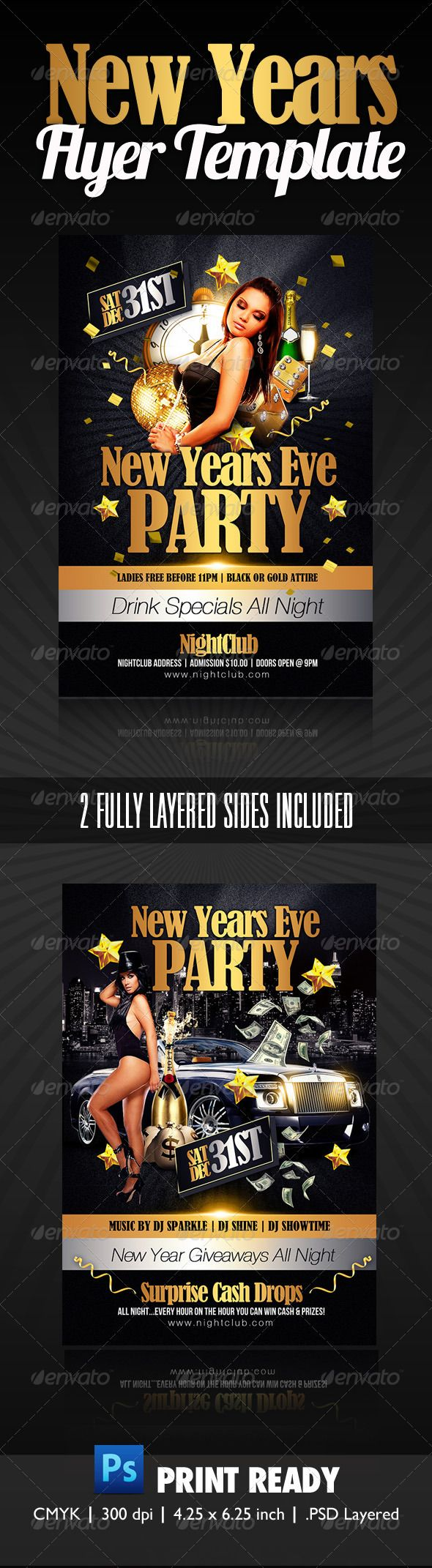 new years party flyer clubs parties events