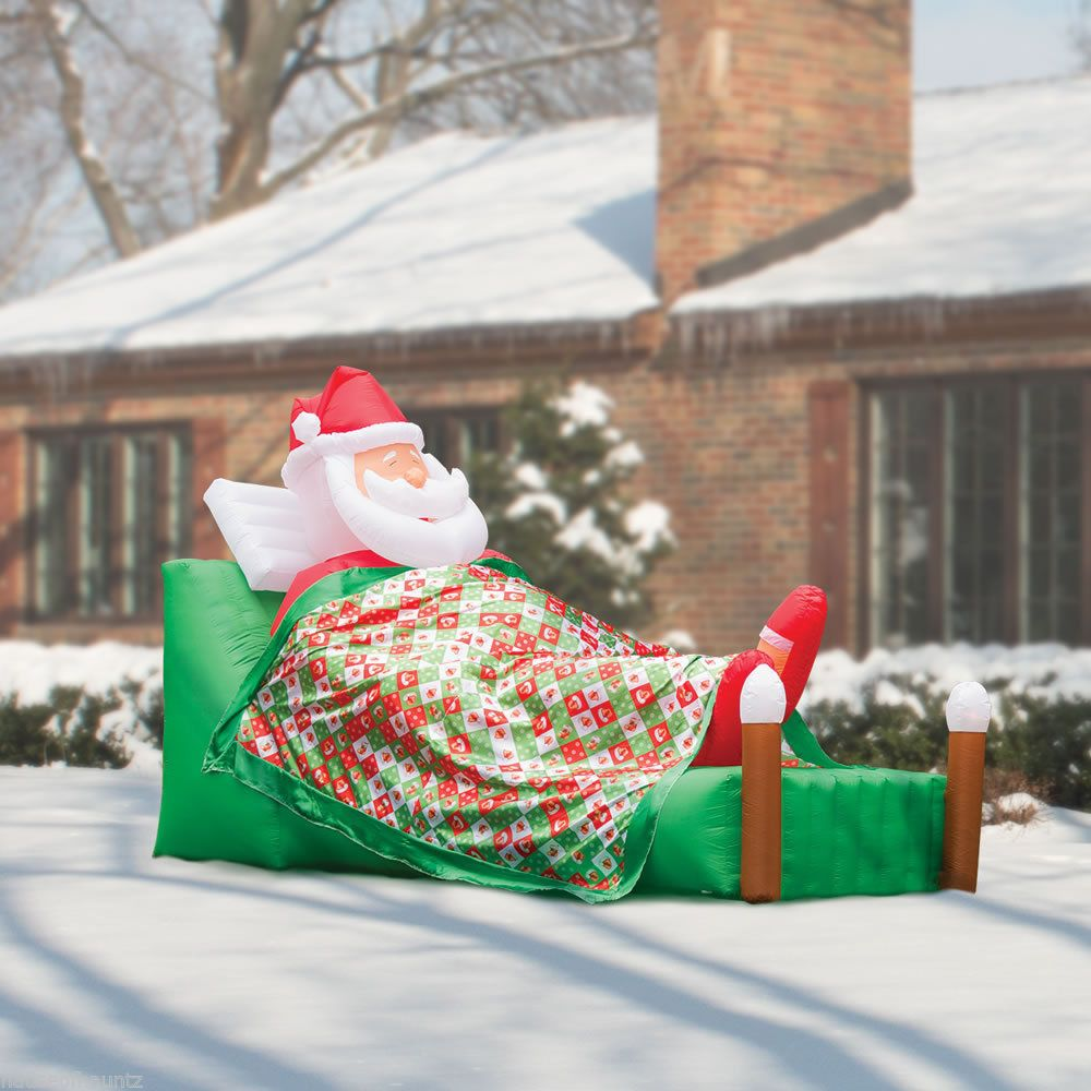 Santa Claus Lawn Decorations: Sleeping Santa Claus Christmas Yard Decor Inflatable