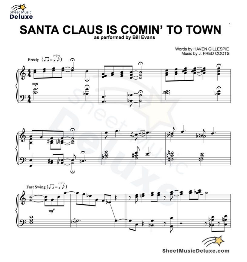 Santa Claus Is Comin To Town Sheet Music Digital Print Sheet Music Pop Sheet Music Print Sheet Music