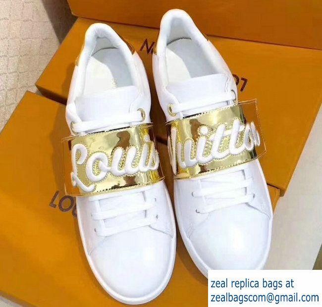 bb26e8ff440 Louis Vuitton Frontrow Sneakers 1A3TA2 White Gold 2017