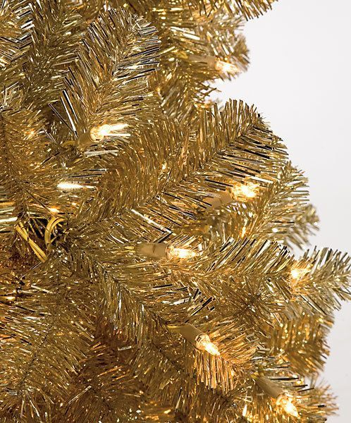 Lavish Golden Christmas Trees 9 Slim Style Tinsel Tree 1 100 Clear Lights 56 Width At Base Stand Gold Christmas Tree Christmas Decorations Christmas