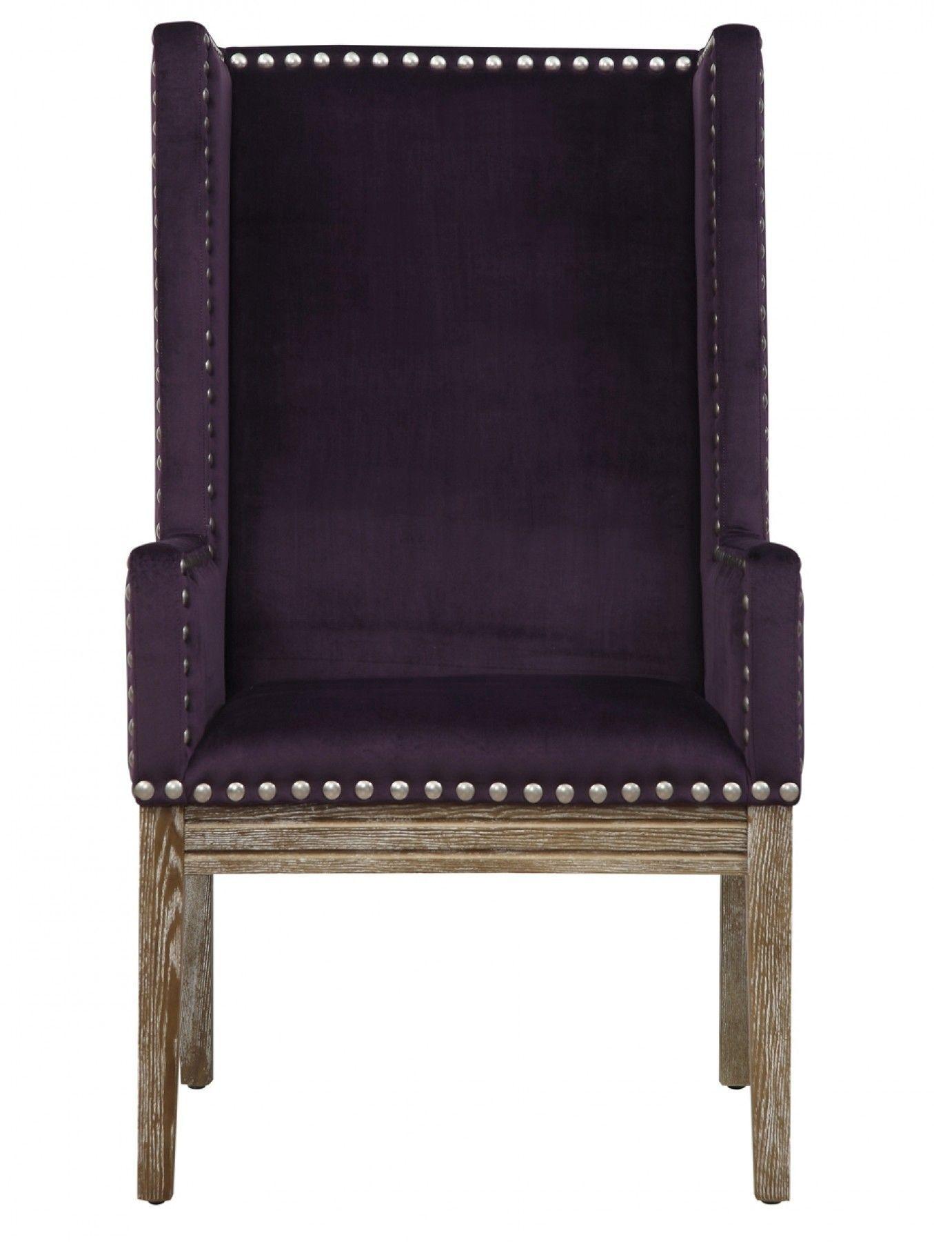 Tribeca Arm Chair Purple velvet chair, Blue velvet
