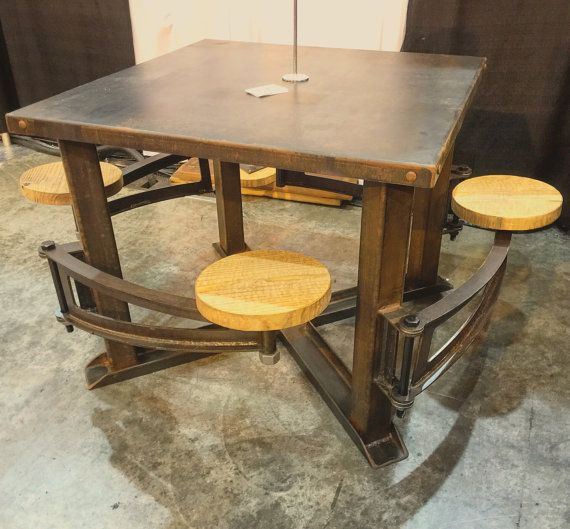 Industrial Swing Out Seat Wood Restaurant Dining Table Vintage Cafeteria Style Swing Arm Barstool Pub Sea Dining Room Industrial Dining Table Woods Restaurant