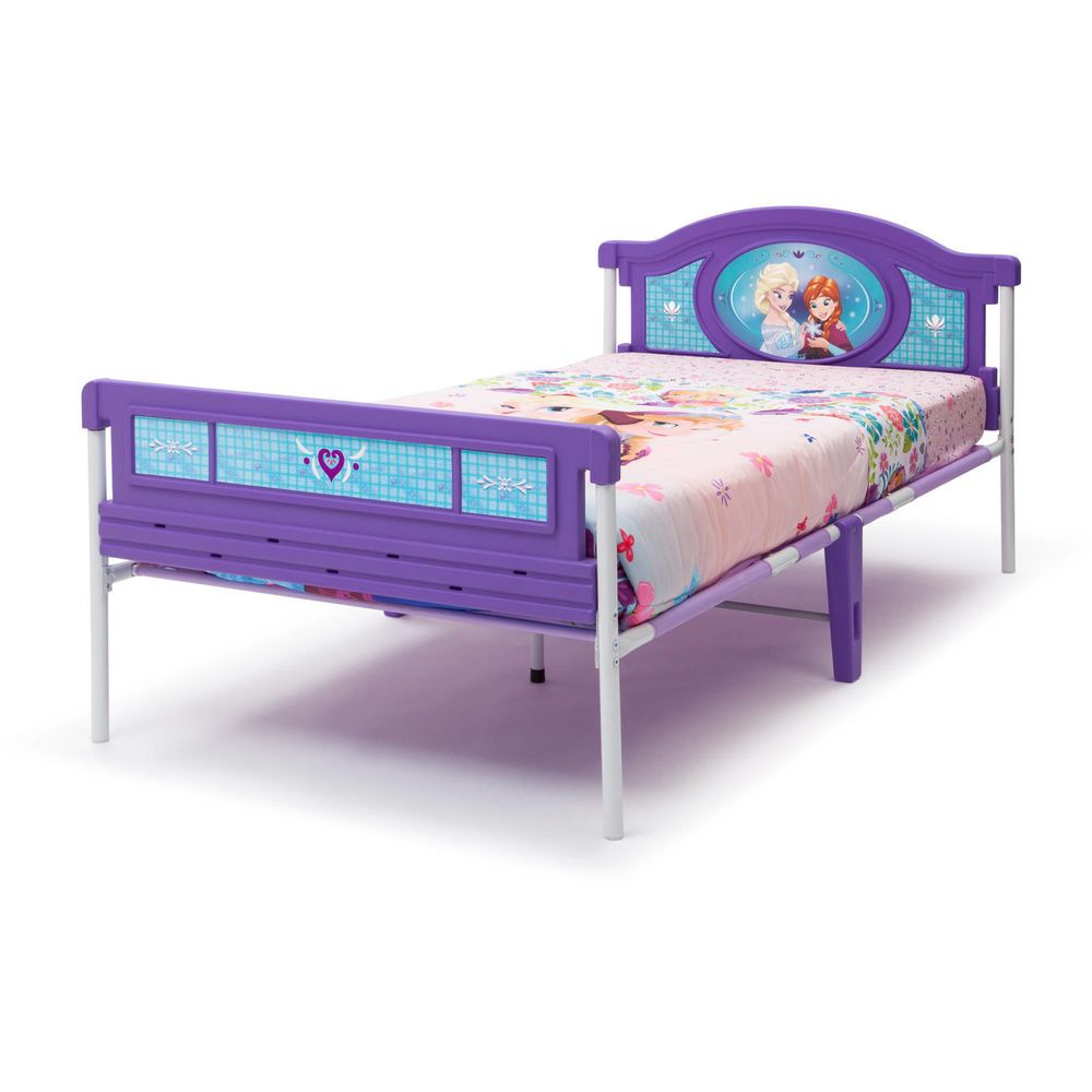 Girls Toddler Bed Frame Plastic Twin Size Disney Modern Kids