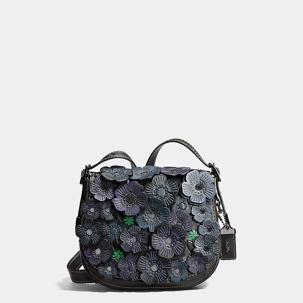 0387dd9a315e Tea Rose Applique Saddle Bag 23 in Leather