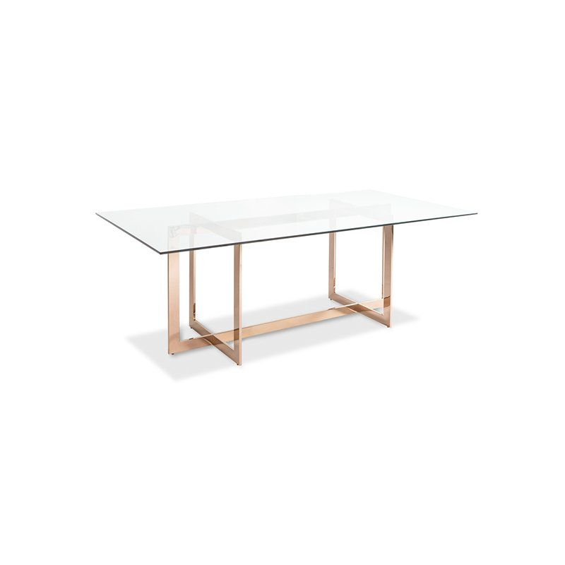 The Kendra Dining Table Has A Unique Geometric Base Polished In Rose Gold Stainless Steel Modern Glass Dining Table Modern Dining Table Dining Table Gold
