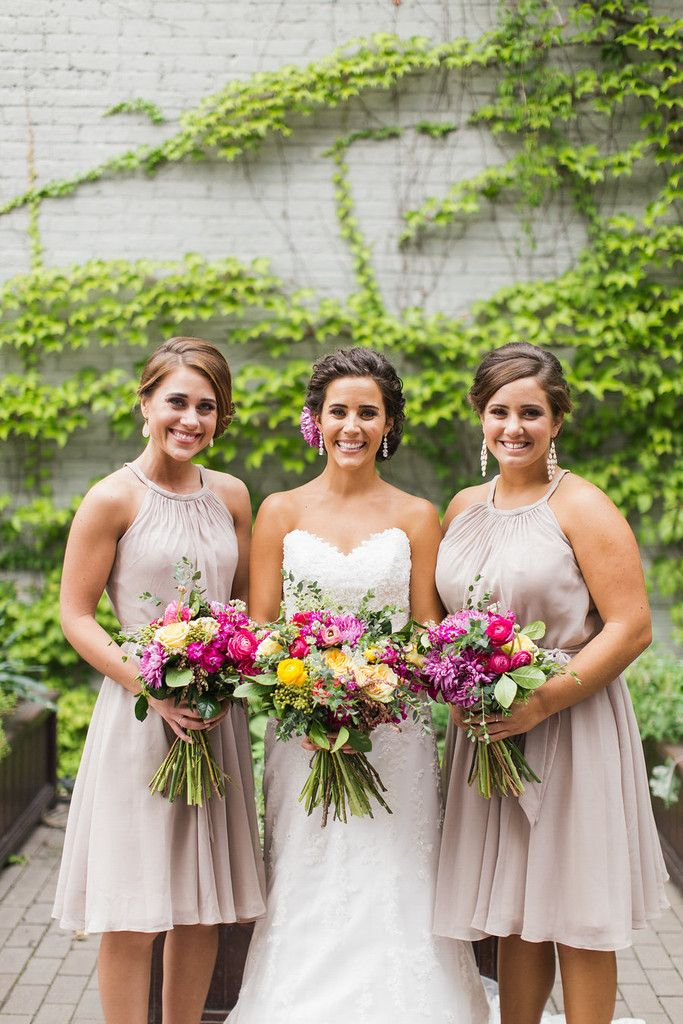 Short chiffon bridesmaid dresses in latte | Floral Graffiti Inspiration at The Big Fake Wedding