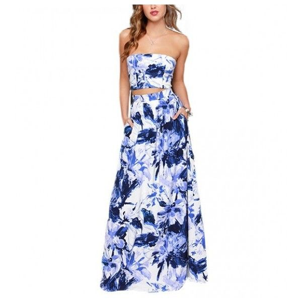 Abstract Floral Maxi Skirt And Crop Top ($25) ❤ liked on Polyvore featuring stylemoi, dresses and style moi