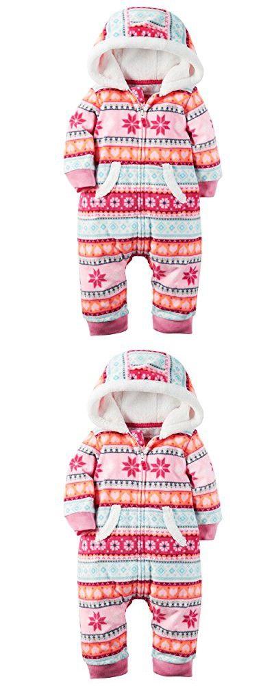 Carters Baby Girls Hooded Fleece Jumpsuit - Pink Fair Isle-NB ...