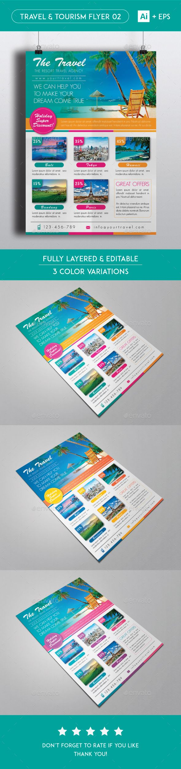 Travel Tourism Flyer 02 Graphicriver Pinterest Tourism