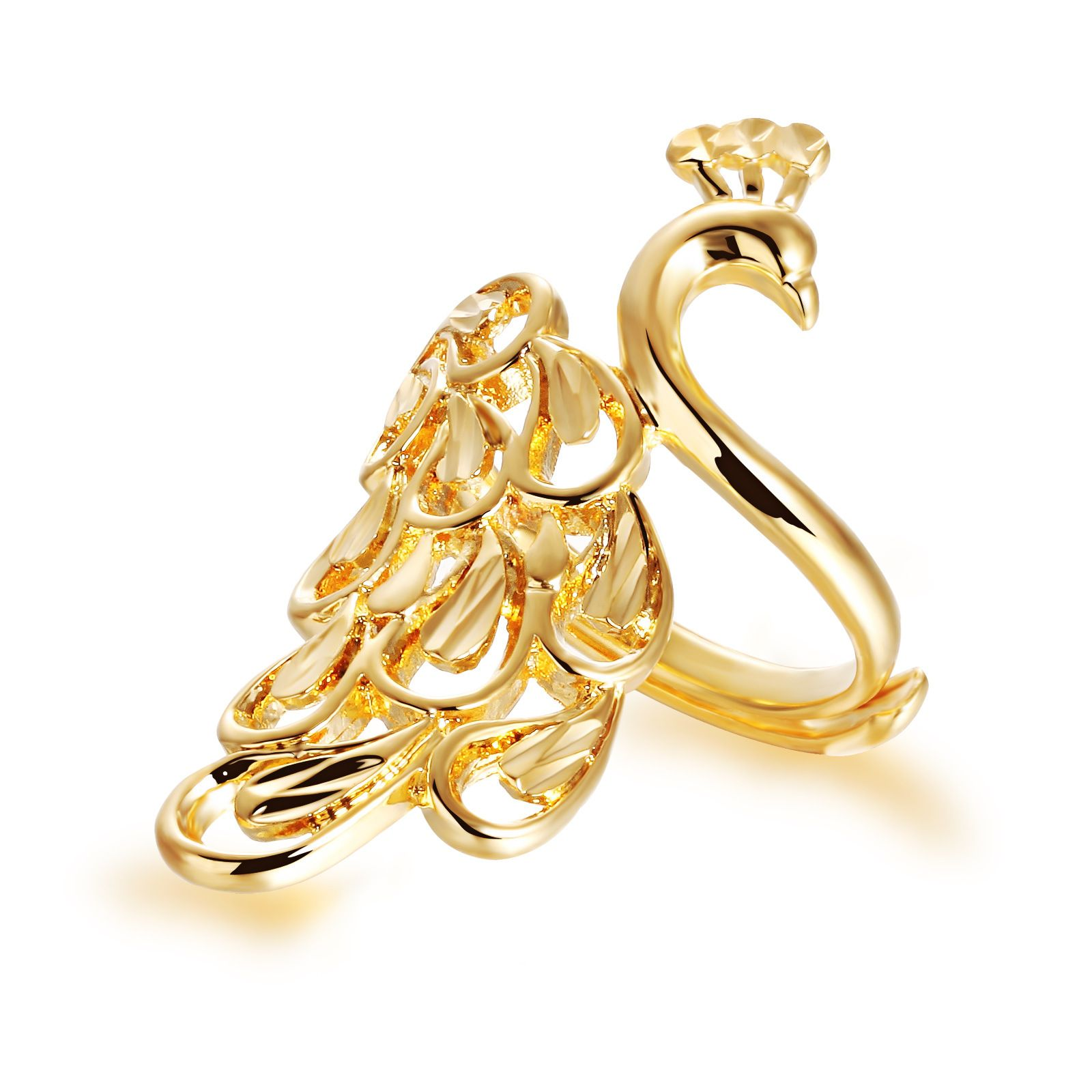 Peafowl Design Gold Plated Rings Womens Adjustable Luxury Wedding ...