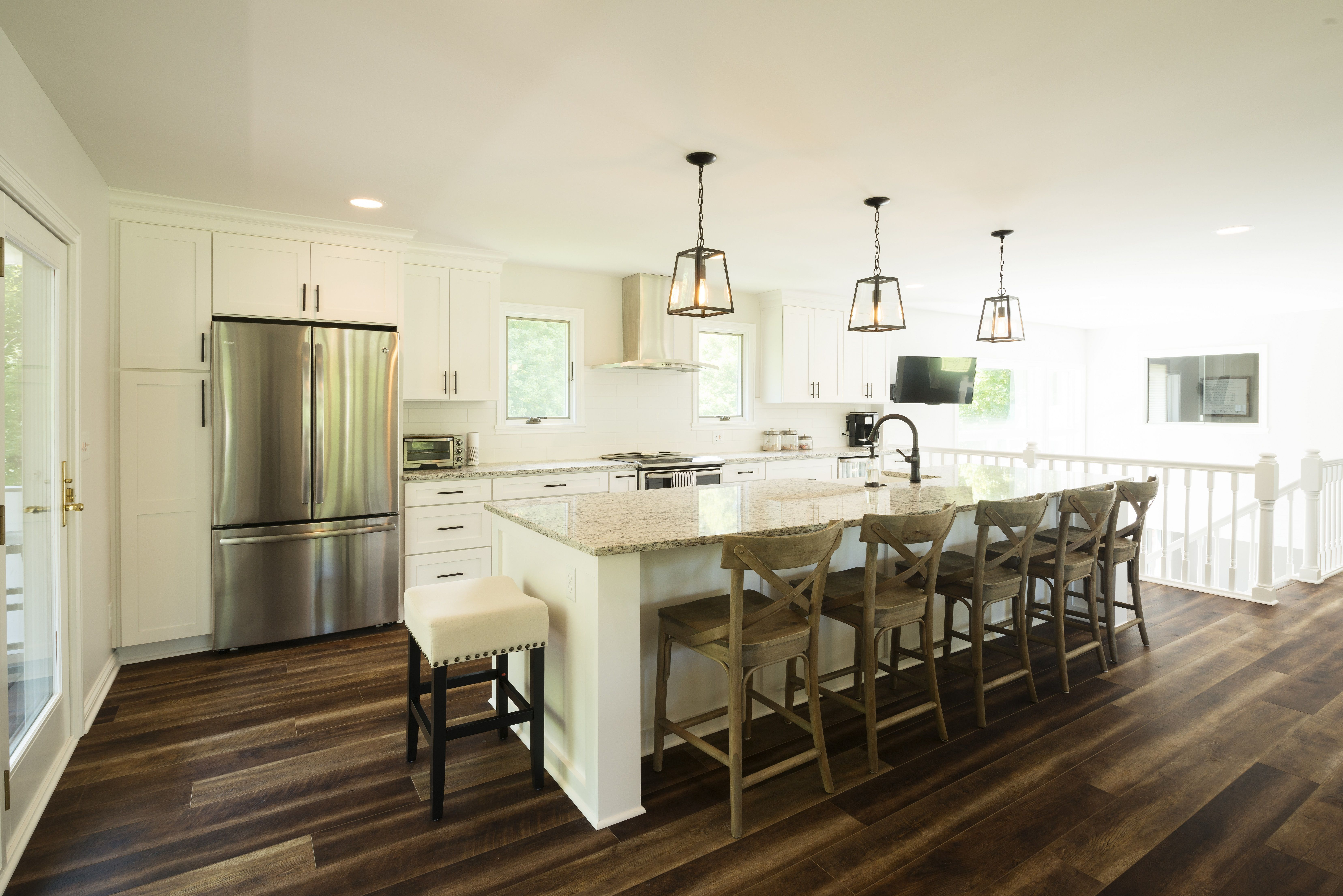 Traditional kitchen remodel in indiana wood floors pendant