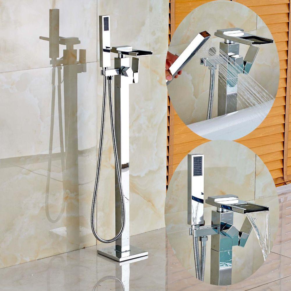 Free Standing Waterfall Bathtub Faucet Chrome Mixer Tap W