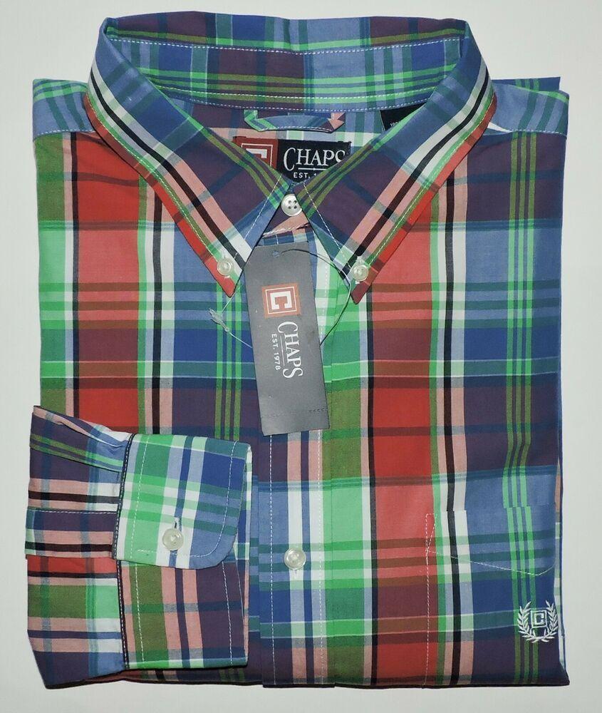 L or XL NWT Plaid Button Front Short Sleeve Shirt Size M Chaps Menw Blue