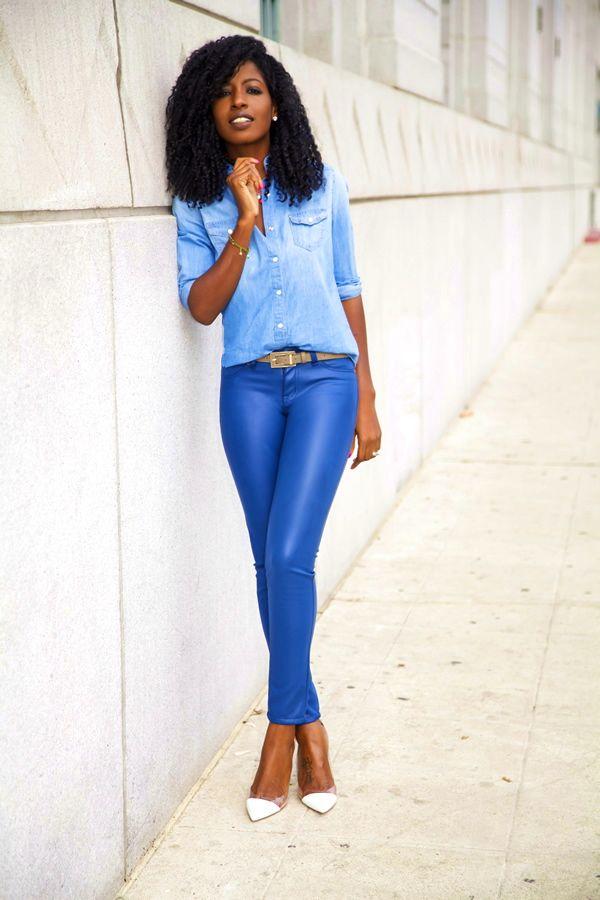 Blue Faux Leather Leggings