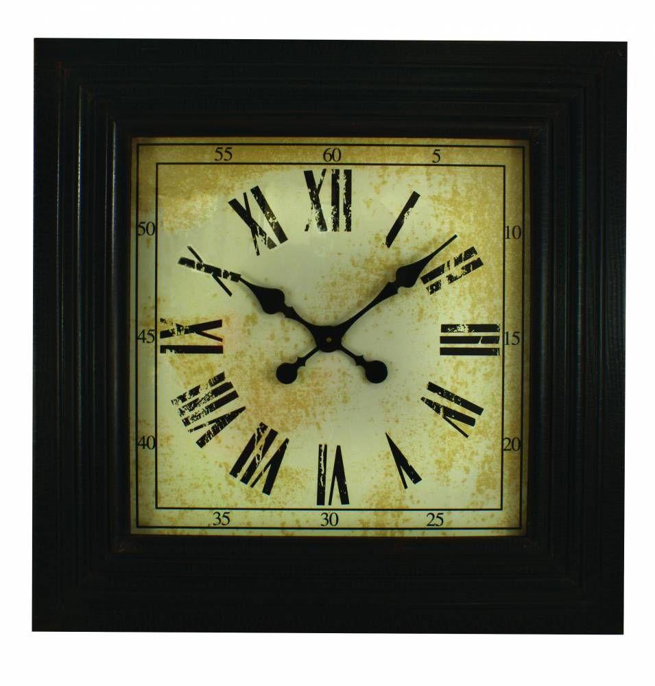Black square wood clock piper classics wood clocks