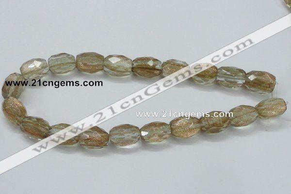 Faceted egg-shaped gold sand quartz gemstone beads