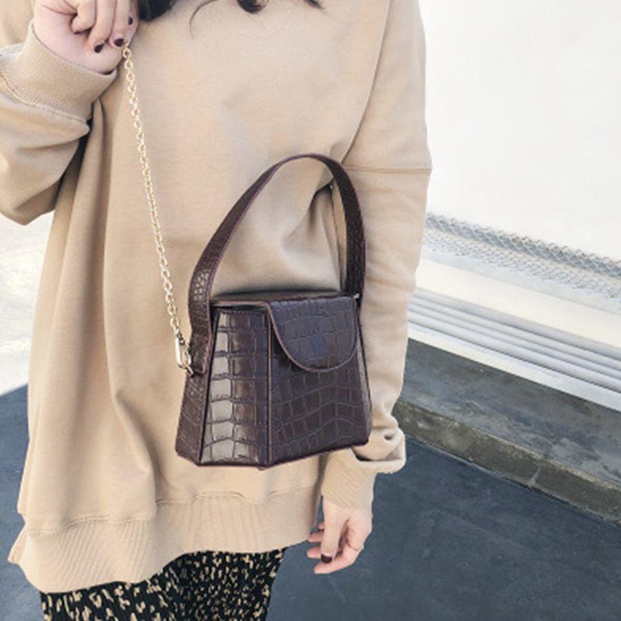 Nude Clutch Shoulder Bag Chic Retro Purse PU Leather