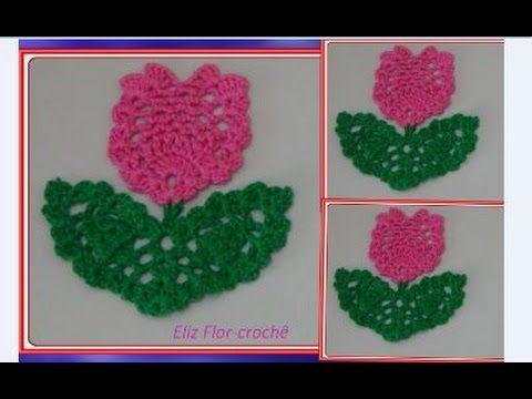 Galho com folha e Flor em crochê para aplicação - YouTube  d4080da2637