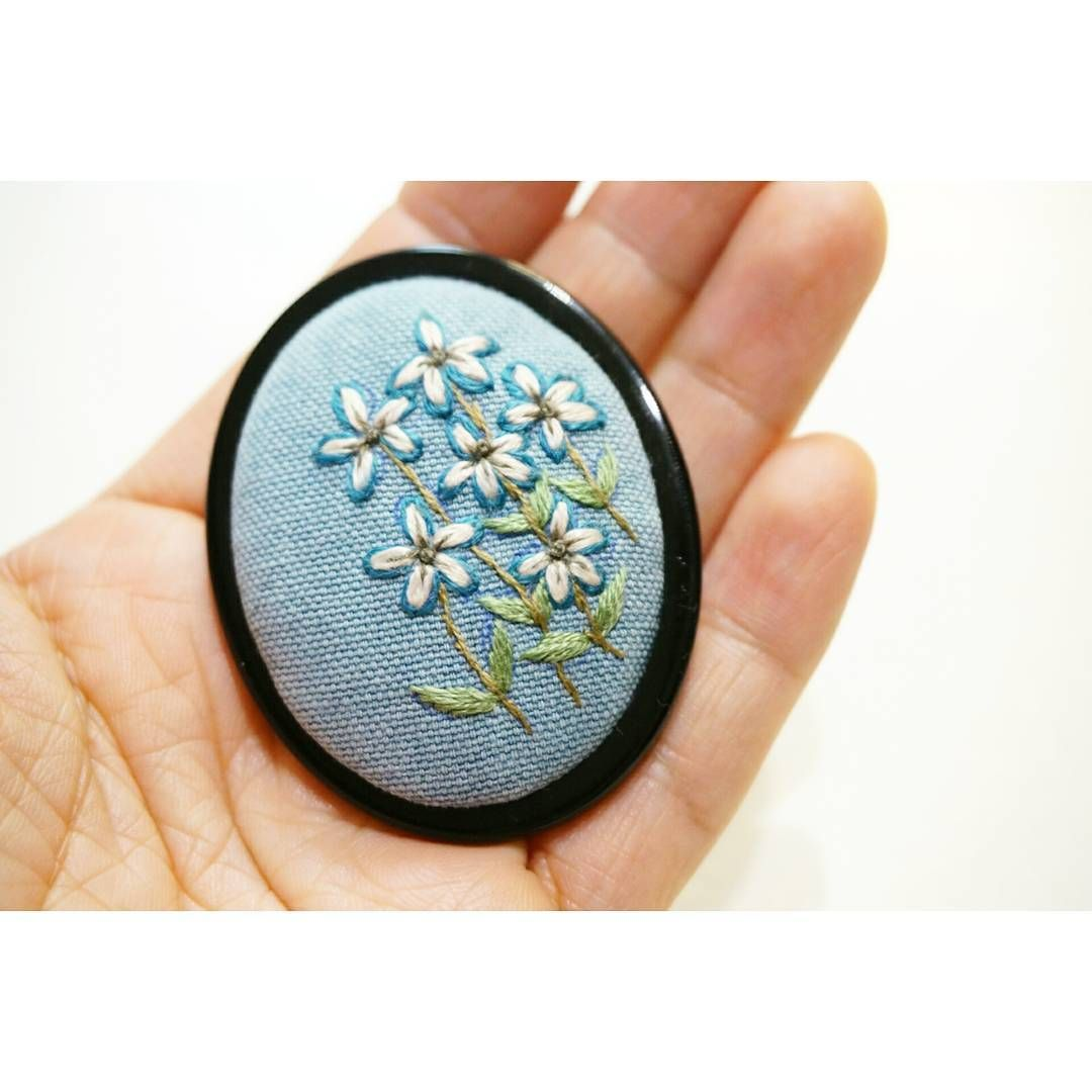 like are flowers pin blue embroidery necklace by ribbon silk themarshwrenshop outlined the way brooch w embroidered what i