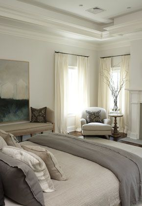 bedroom - neutrals, I like the sitting area and curtains (although they won't block out a lot of light)