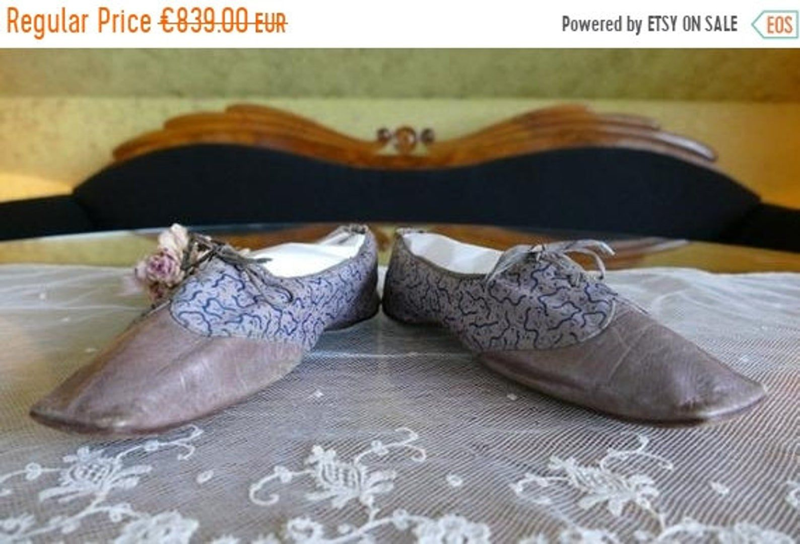 ON SALE 1823 Biedermeier Shoes Romantic Period Shoes antique