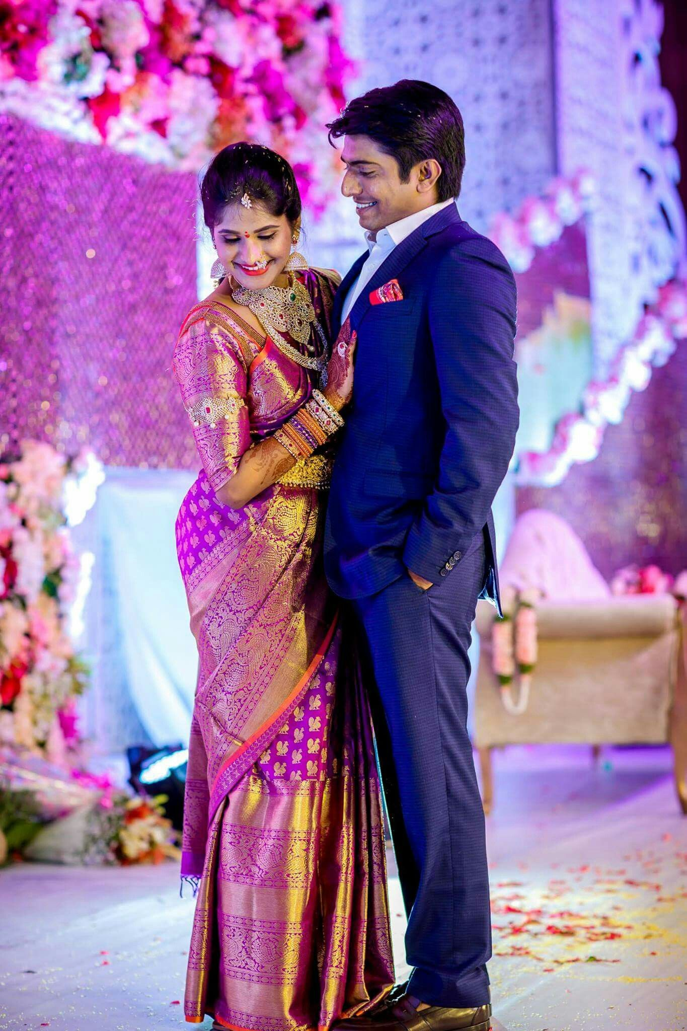 South Indian telugu bride at her engagement ceremony (With