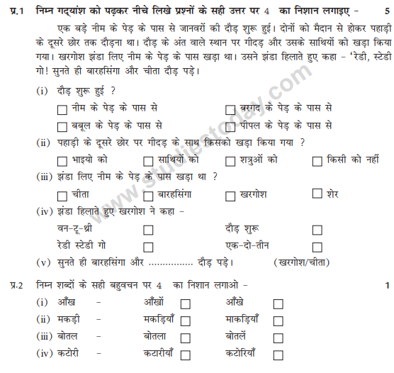 CBSE Class 2 Hindi Question Paper Set F (With images