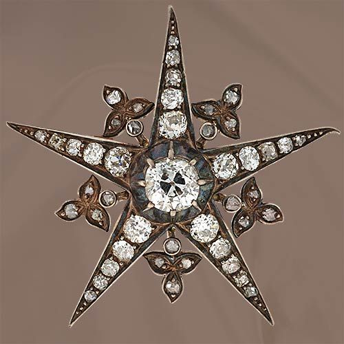 Victorian Five Pointed Diamond Star Pin - 50-1-733 - Lang Antiques