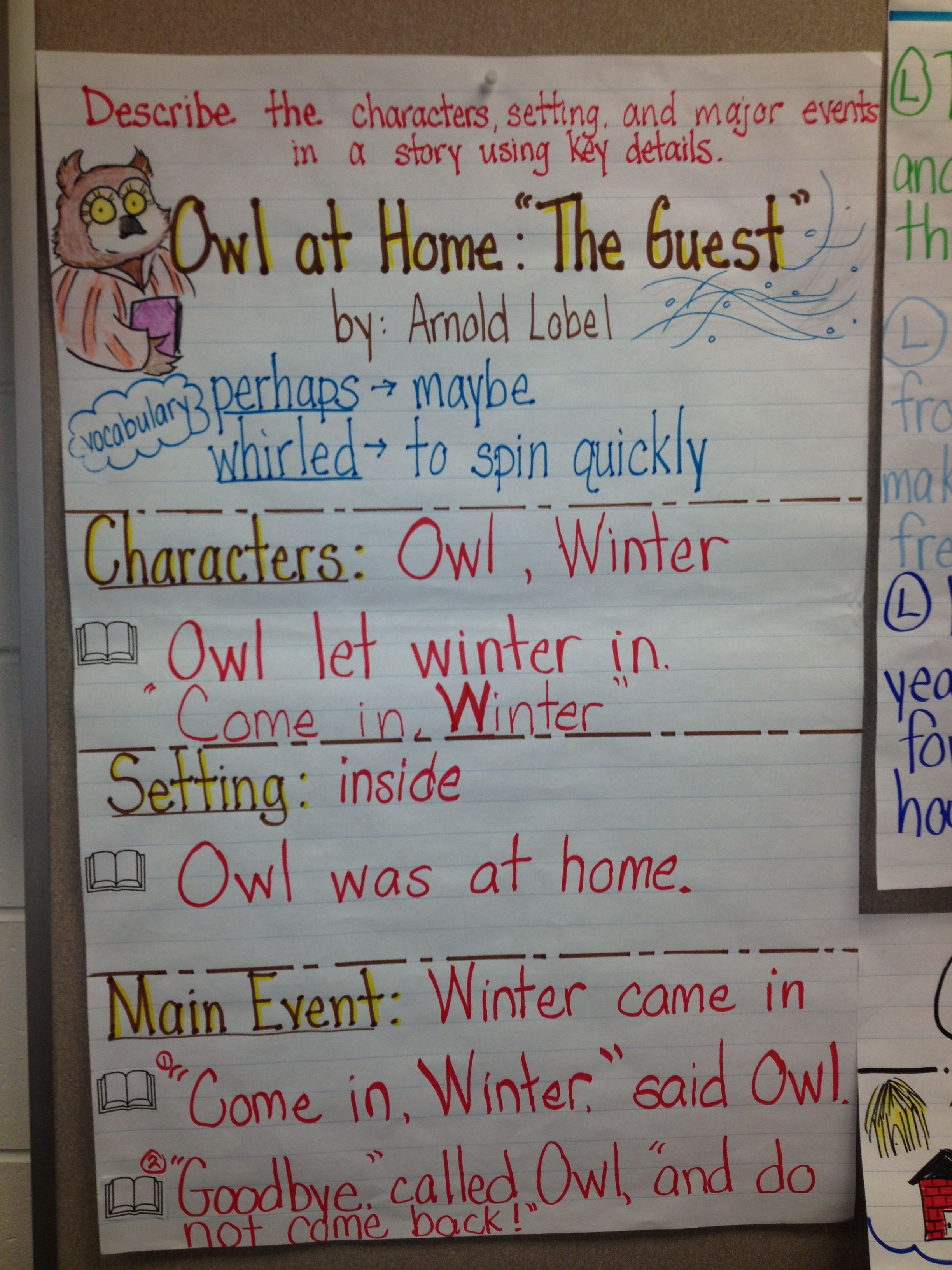 Owl At Home The Guest Rl 1 3 Anchor Charts First Grade First Grade Reading Reading Anchor Charts