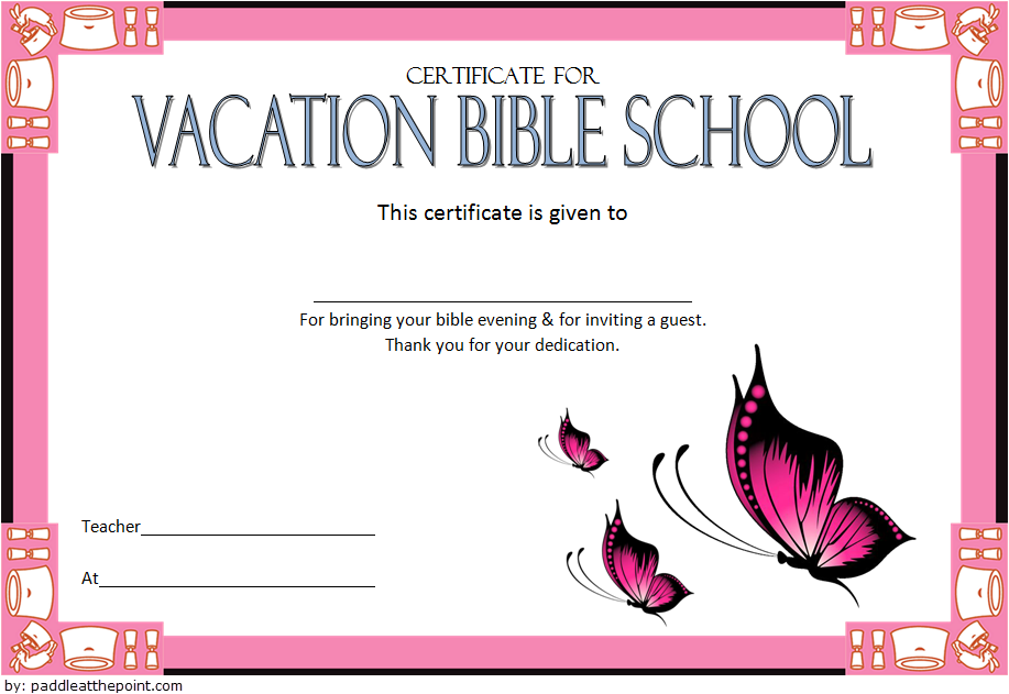 The third design of this VBS Certificate of Completion