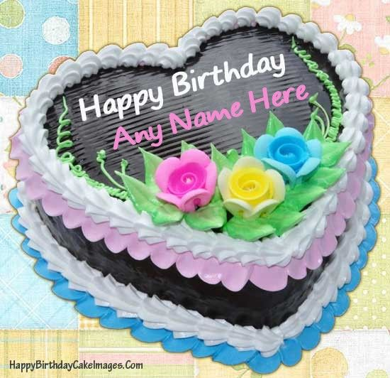 Write Name on Chocolate Heart Birthday Cake Image and send ...