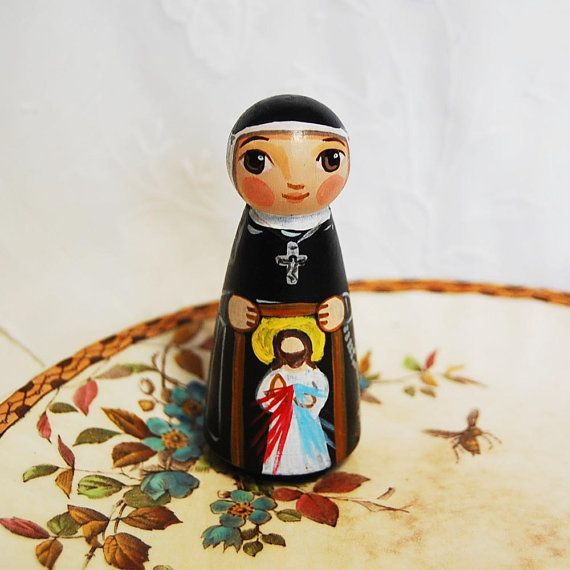 St Faustina Wooden Toy - Catholic Saint Doll - Made to Order