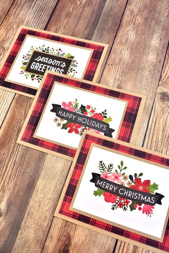 Buffalo Plaid Handmade Boxed Christmas Card Variety Set of 3 - Red