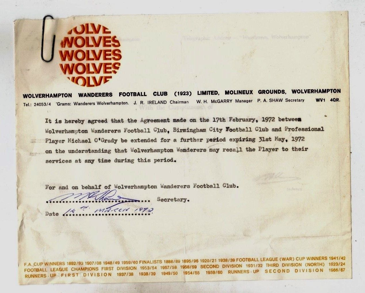 7bde638da62 Wolverhampton Wanderers Wolves Original Signed Agreement Mike O  039 Grady  Birmingham in Sports Memorabilia