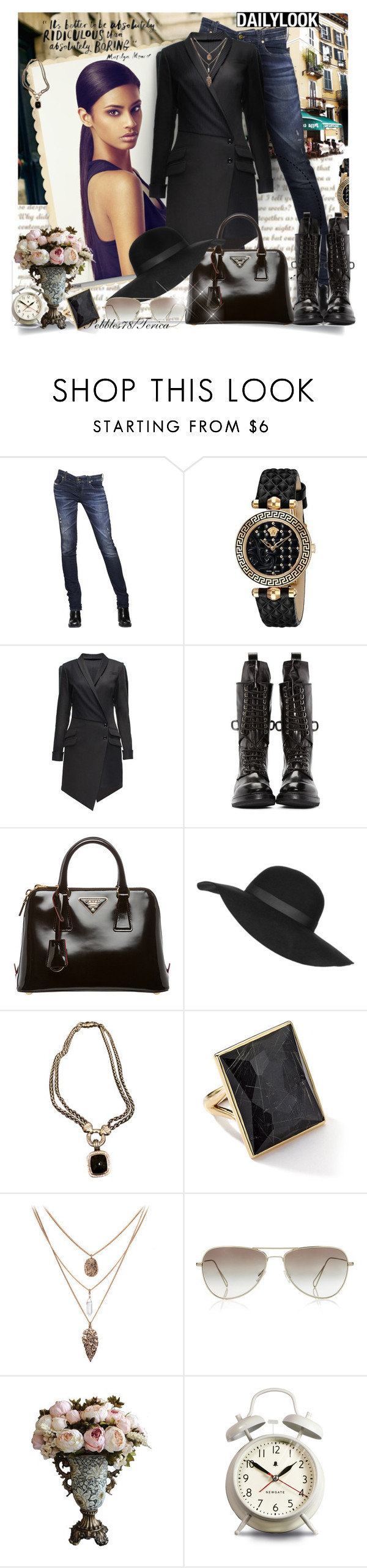 """Better to be Absolutely ridiculous than absolutely boring!"" by pebbles78 ❤ liked on Polyvore featuring Diesel, Versace, Lattori, Rick Owens, Prada, Topshop, David Yurman, Ippolita, Newgate and women's clothing"