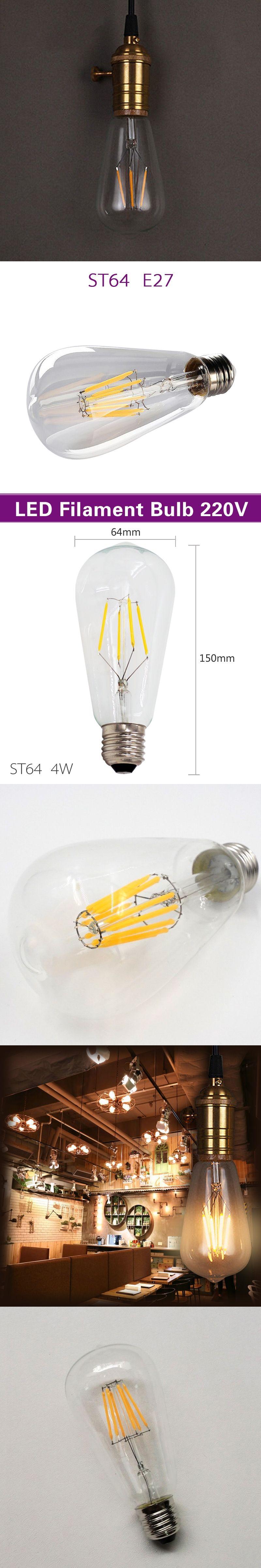 Mingben Retro Led Filament Light Bulb Dimmable St64 E27 220v 4w 8w 12v Fluorescent Lamp Driver Smart Ic