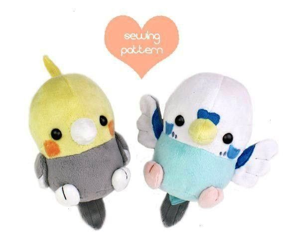 pattern Kawaii Bird stuffed animal - Cockatiel Parakeet chibi plushie 6in Pokemon Robin Sparrow Cro