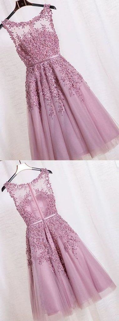 2d1171ef380b2a Floral Lace Applique Sheer Sweetheart Illusion Short A-Line Tulle  Homecoming Dress Sleeveless Short Evening Cocktail Gowns