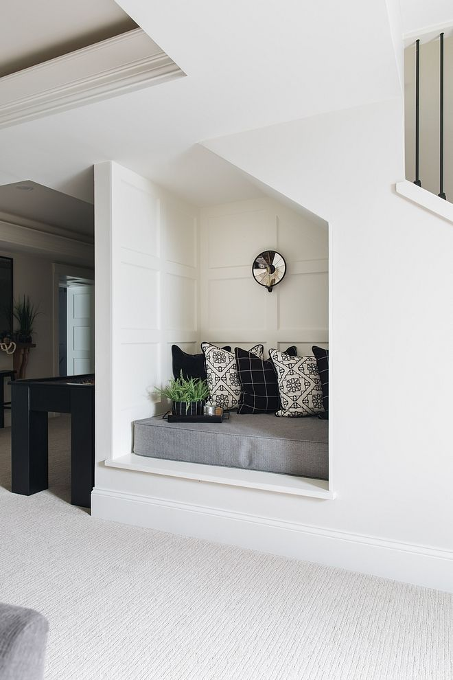 Lighting Basement Washroom Stairs: Reading Nook Located Under The Staircase, This Adorable