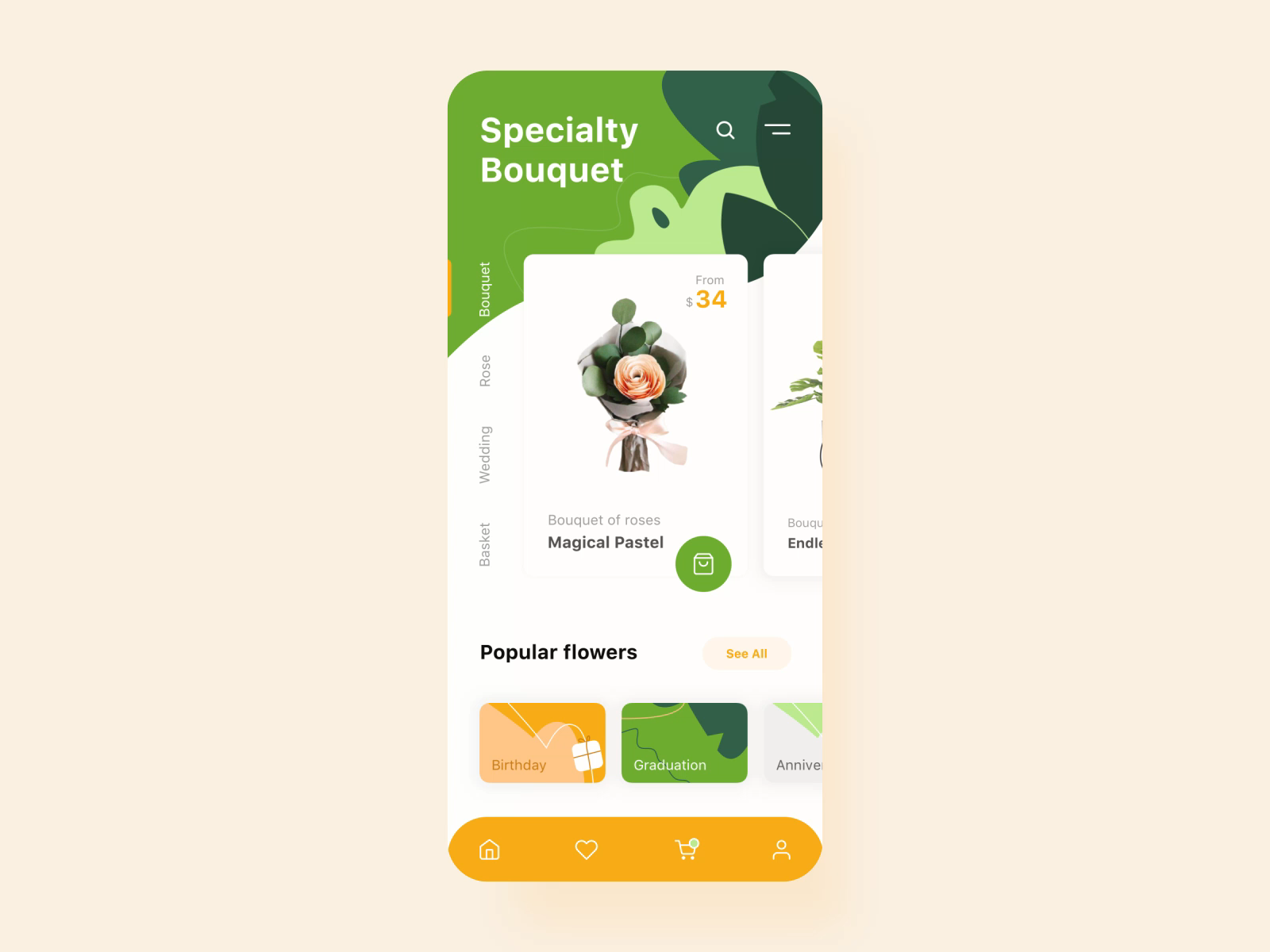 Flower Store mobile application interaction