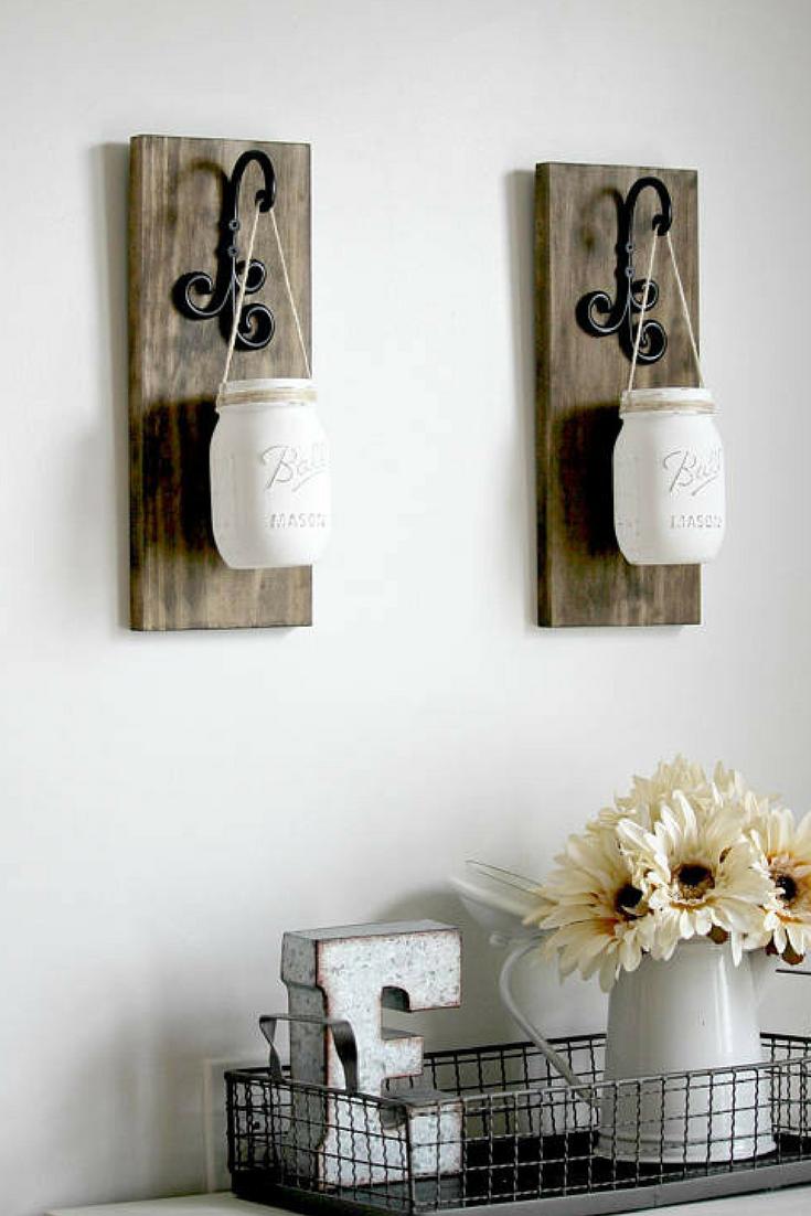 Rustic Home Decor -Mason Jars Sconce-Rustic Sconces-Rustic Wall ...