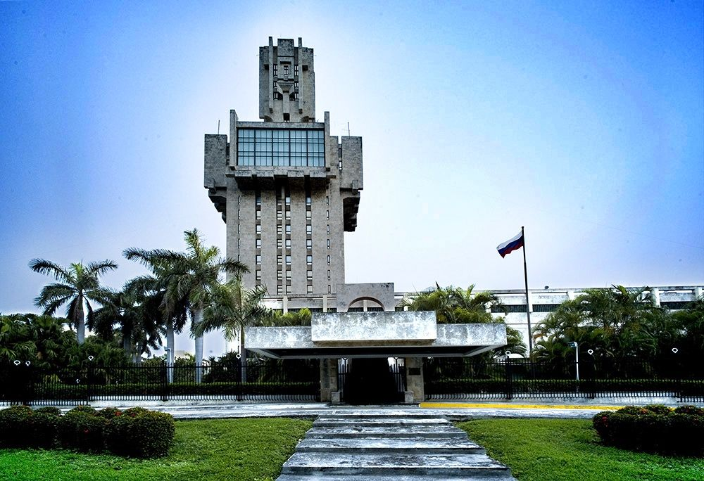 Russian Embassy Havana Shapes Brutalist Buildings Havana Et Cuba