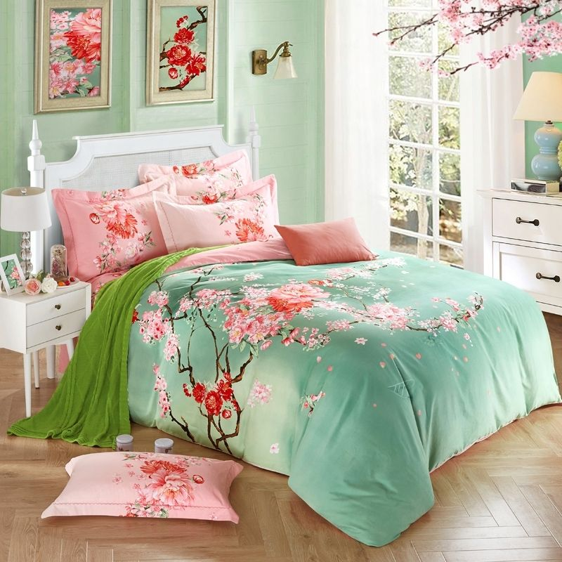 Bedroom Sets Full Size Mint Black And White Bedroom Ideas Lighting For Small Bedroom Bedroom With Black Accent Wall: Mint Green And Pink Peach Blossom Print Oriental Style