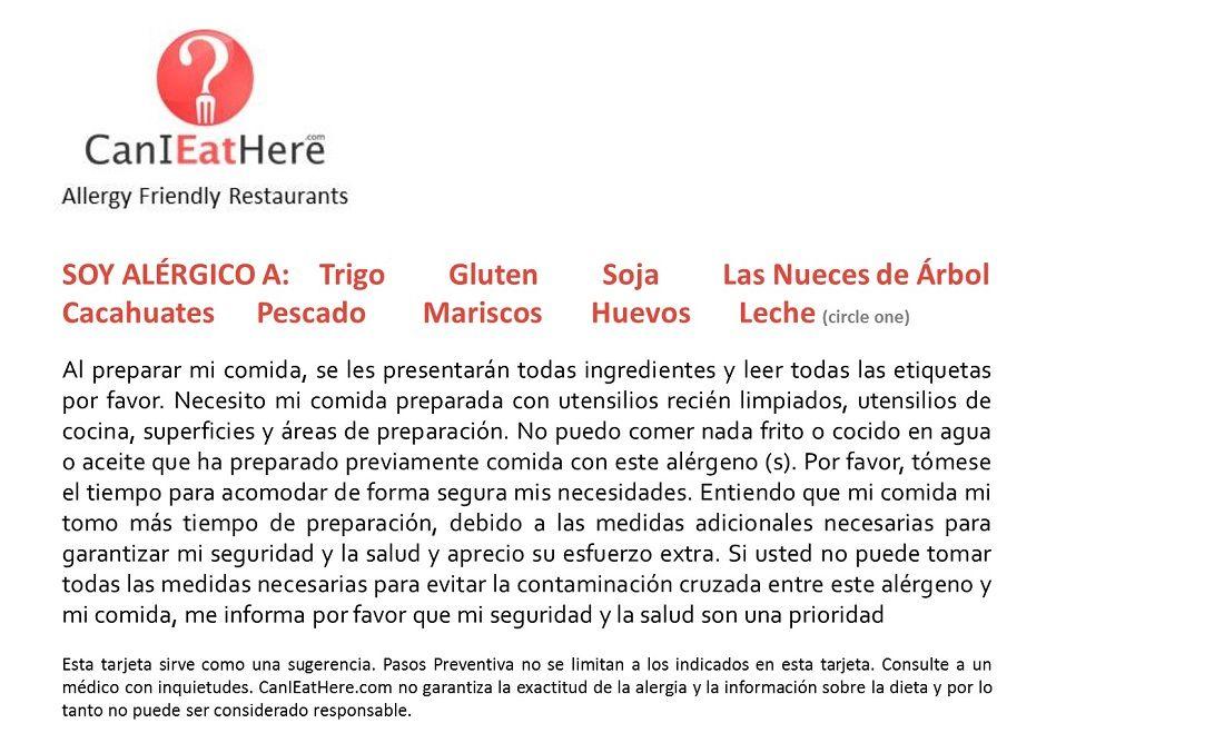 Food Allergy Card Spanish Translation Food Allergies Allergies Gluten Free Restaurants