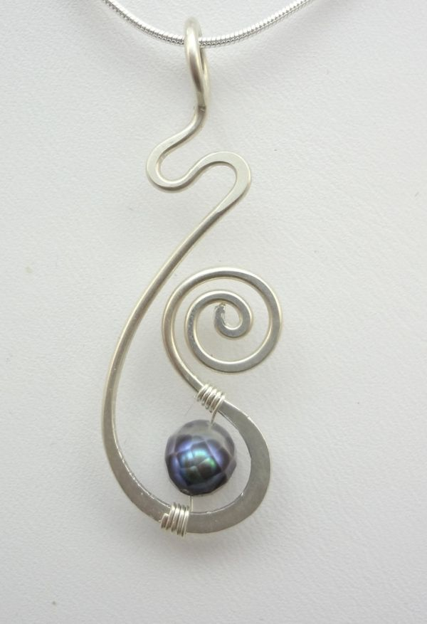 Sterling Silver and Pearl Freeform Hammered Wire Wrapped Pendant ...