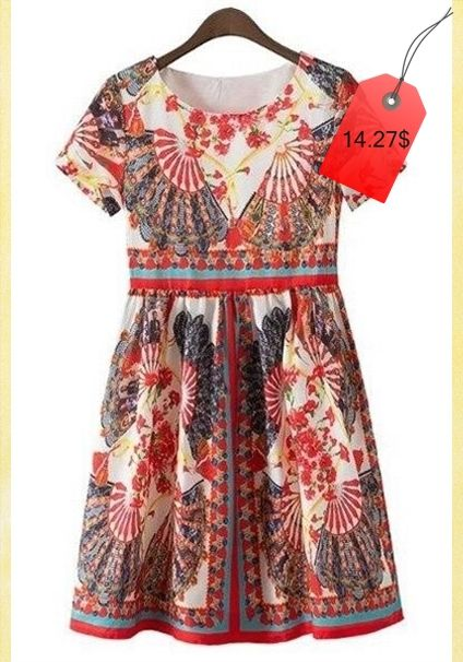 Vintage Round Neck Short Sleeves Printed High-Waist Dress For Women