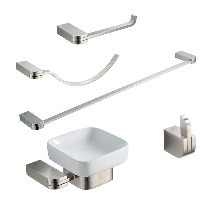 5Pc Brushed Nickel Bathroom Accessory Set  Solido Httpswww Magnificent Brushed Nickel Bathroom Accessories Inspiration